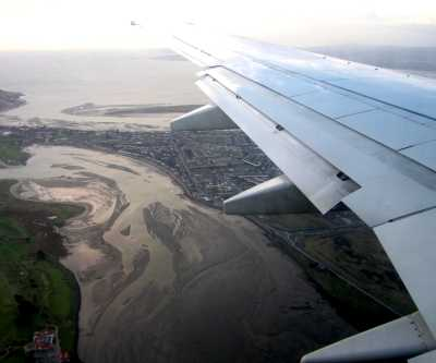 Arrival in Ireland, over Dublin