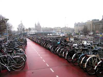 Amsterdam from bicycle park