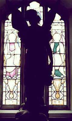 Angel in church window, Norfolk