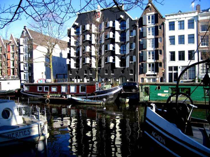 Houses by canal, Amsterdam