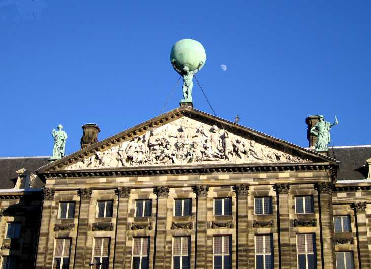 Atlas and frieze on Koninklijk Paleis in Dam Square, Amsterdam