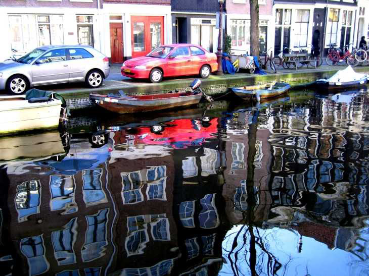 Reflections in canal in Amsterdam
