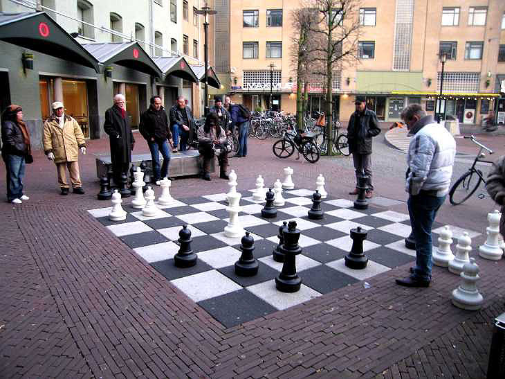 Outdoor chess game in Leidseplein, Amsterdam