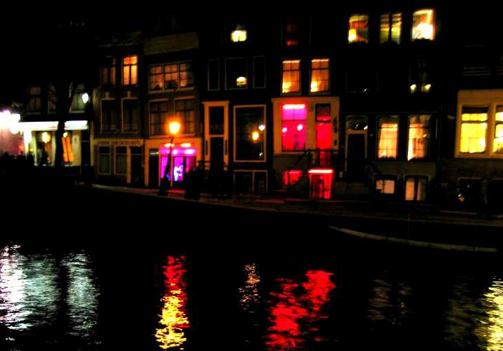 After dark in Amsterdam, Windows and reflections