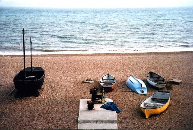 Boats on the shingle beach, Brighton, Sussex