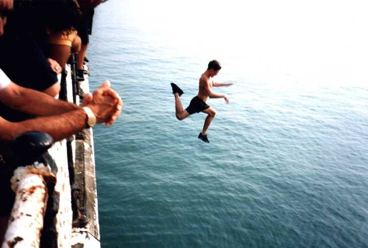 In free-fall, from the pier at Brighton, Sussex