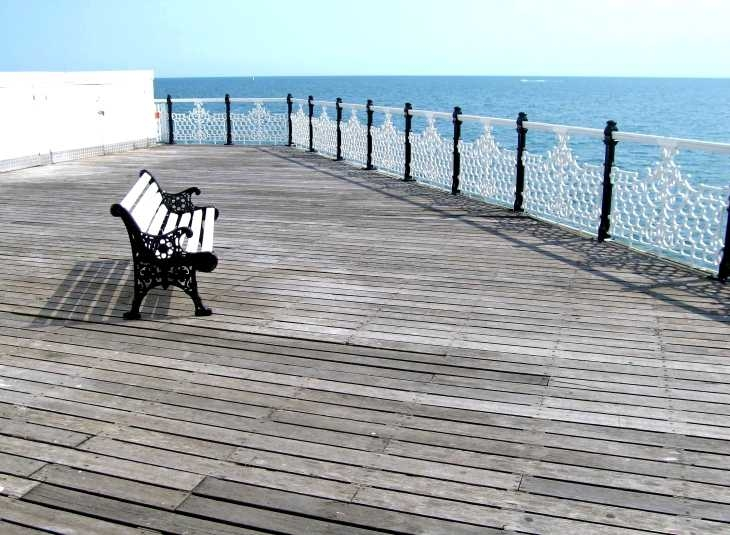 Space and sea, on the pier, Brighton, Sussex
