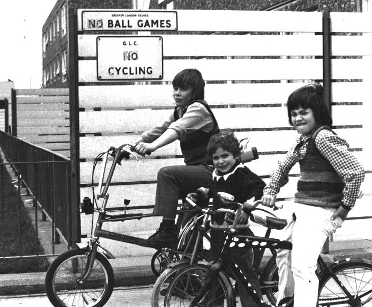 No ball games no cycling Black & white photograph