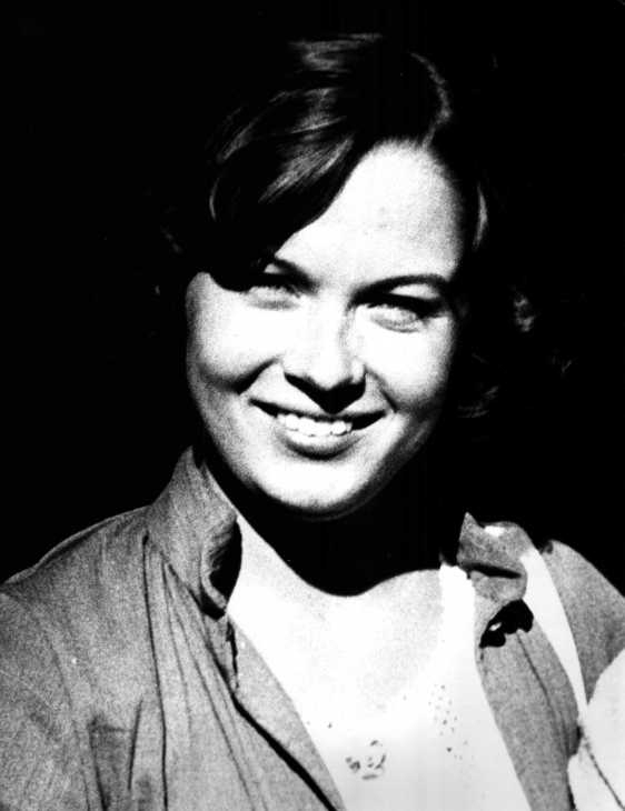 Grainy black and white portrait of Alison W