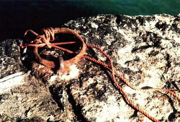 Rope and ring, the harbour, Lamorna Cove Cornwall