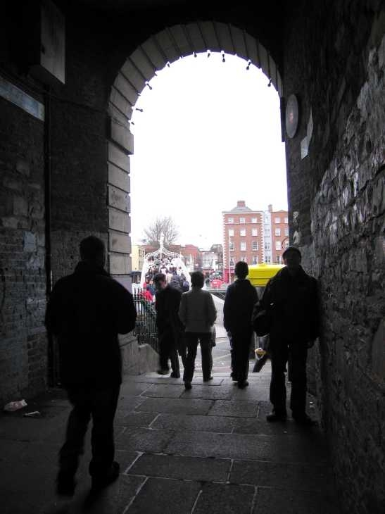 Passage between Temple Bar and Ha'penny Bridge, the site of the bookstall where  Leopold Bloom buys a book for Molly, and where Stephen meets his sister
