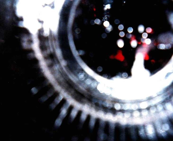 Experimental photography. Vision through a plastic beer glass