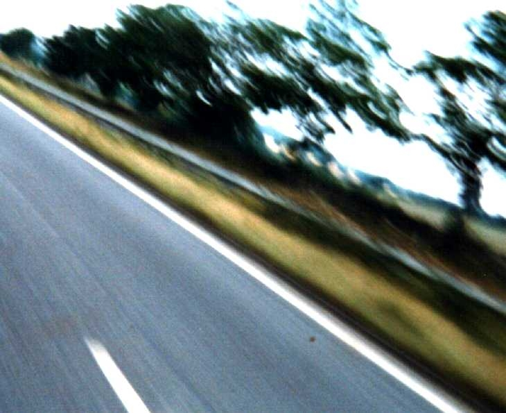 Experimental photography. From a speeding motorcycle