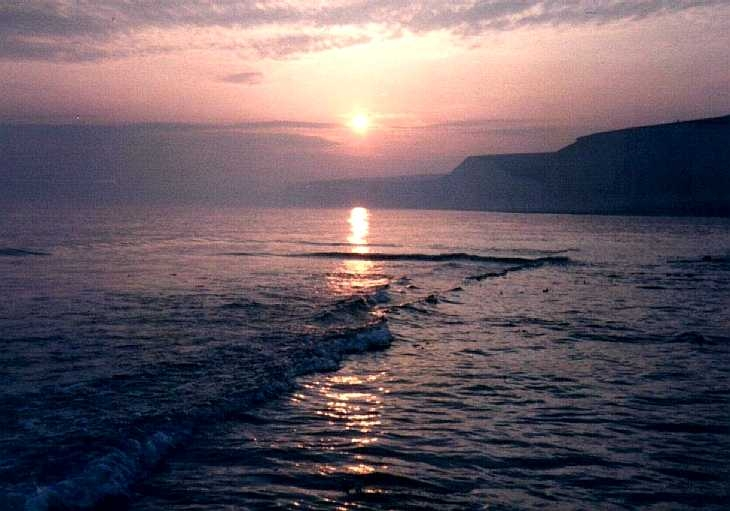 Sunset over the sea, near Birling Gap, Sussex, south coast