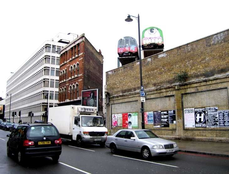 Tube trains above Great Eastern Street, London East End