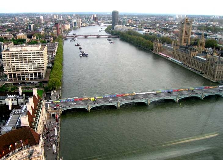 Westminster Bridge and The Thames from The London Eye