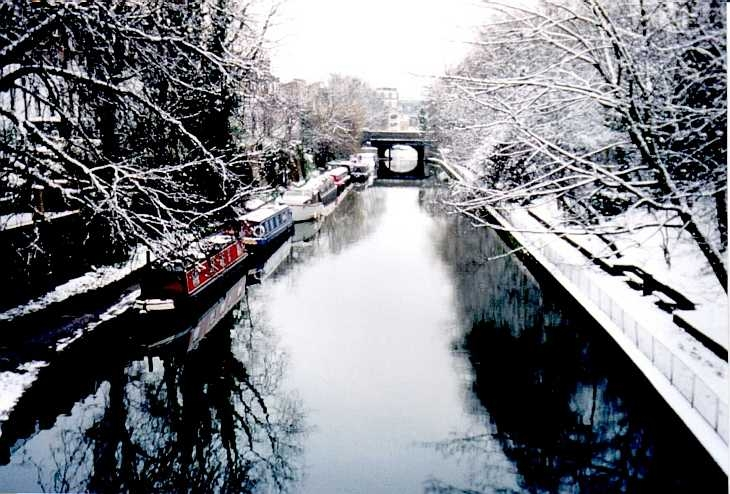 Islington, London, the canal in snow