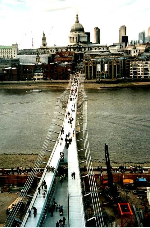 The Millennium Bridge and St Paul's Cathedral, London