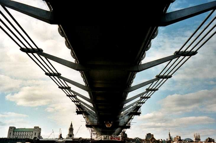 Low view of The Millennium Bridge, London