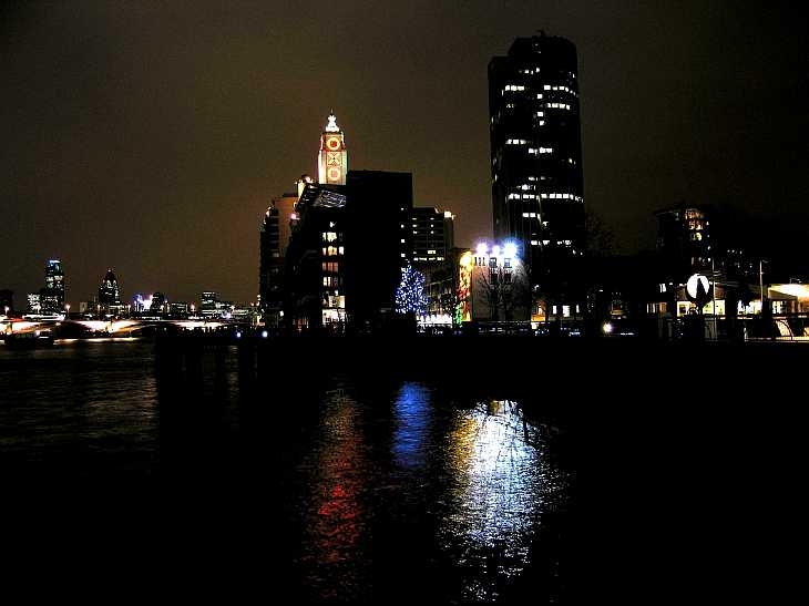 The Oxo Tower by the Thames, London at night