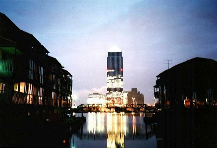 Docklands, London at night