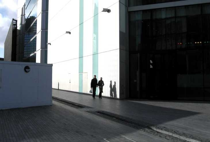Figures in sun & shadows, London, South Bank