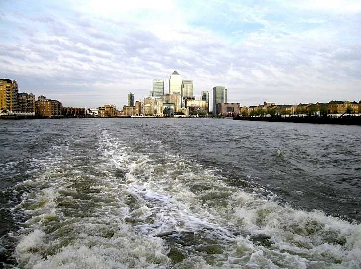 Docklands from the River Thames, London