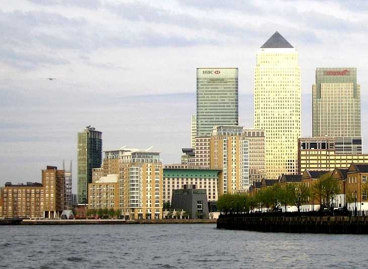 London, Docklands, Canary Wharf from the River Thames