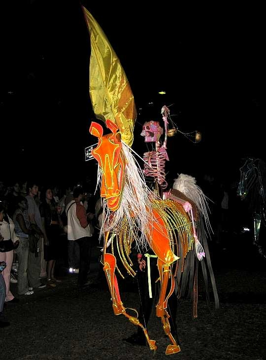 Skeleton riding horse, Thames Festival parade, London