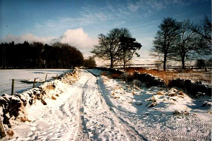 Snow-covered road, The Peak District