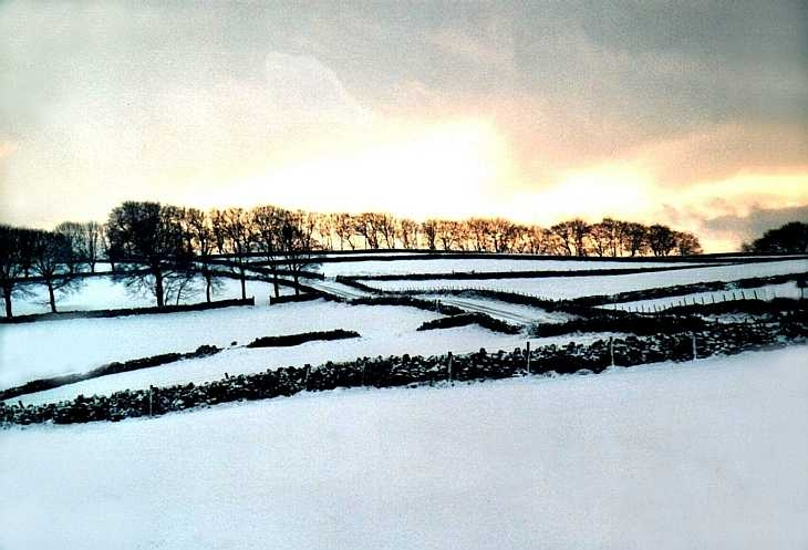 Snow-covered landscape, The Peak District