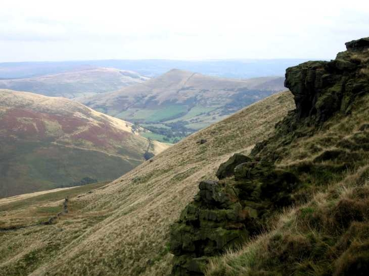 Looking down from Kinder Scout, Edale, Derbyshire Peak District