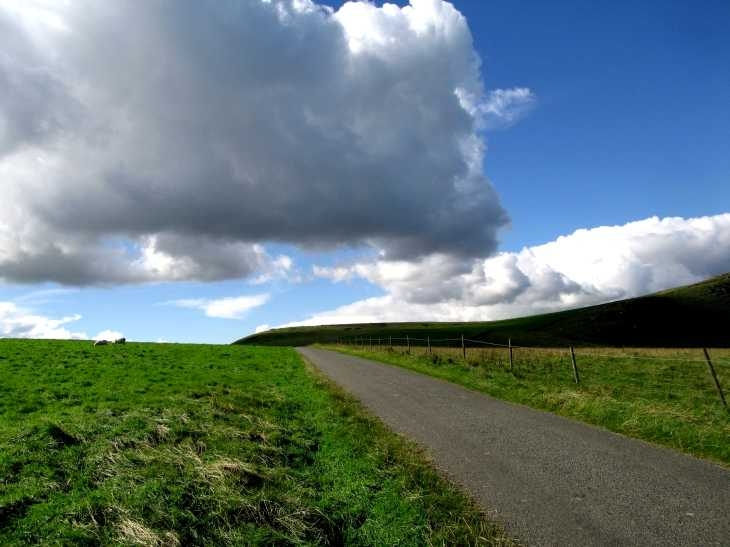Hill, road and sky