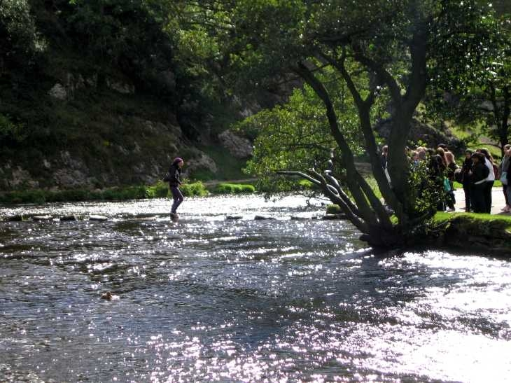 Crossing the River Dove in Dovedale