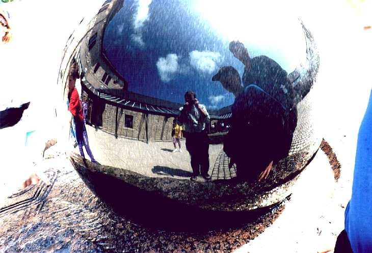 Reflective ball on water sculpture