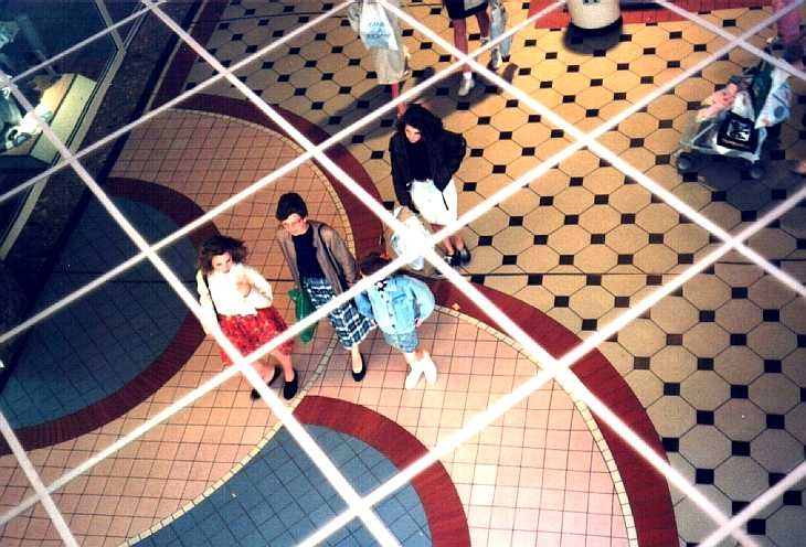 Ceiling mirror, shopping centre, Manchester