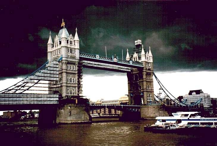 Stormy sky over Tower Bridge, London