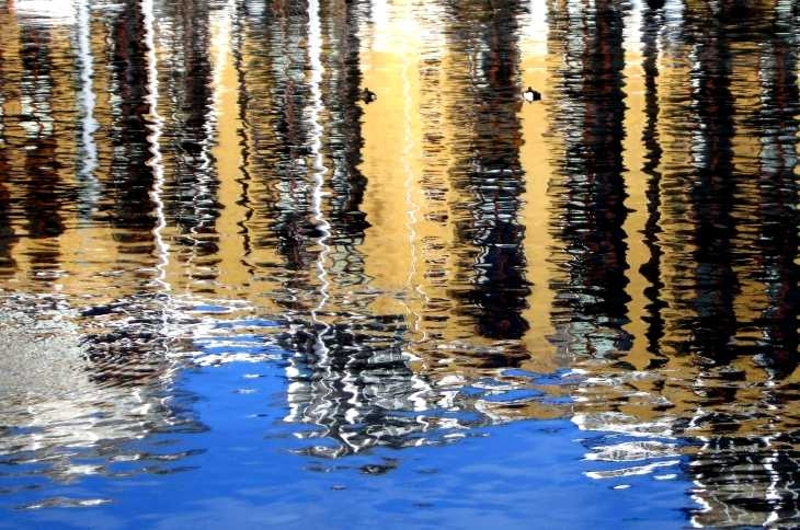 Reflections on water, St Katharine's Dock, London