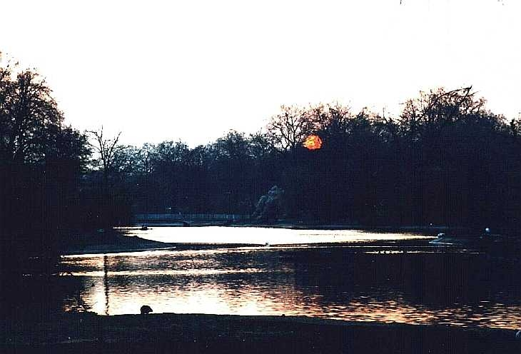 Winter sunset, St James's park, London