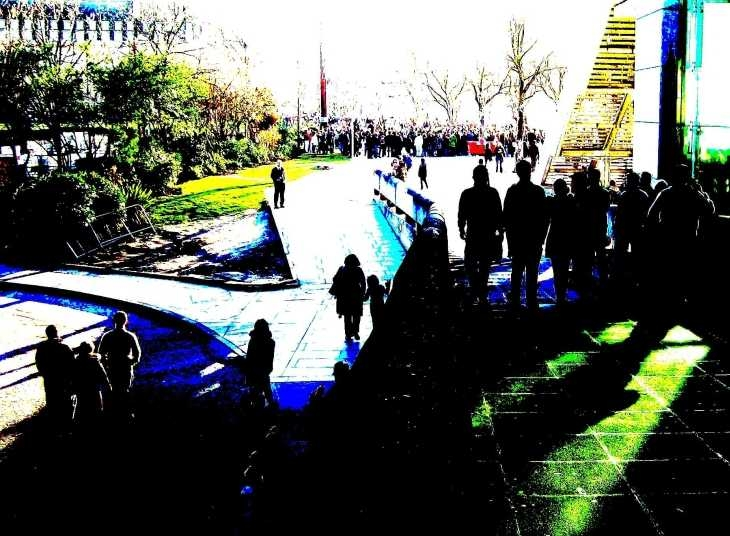 London, The South Bank, sunlight and shadow