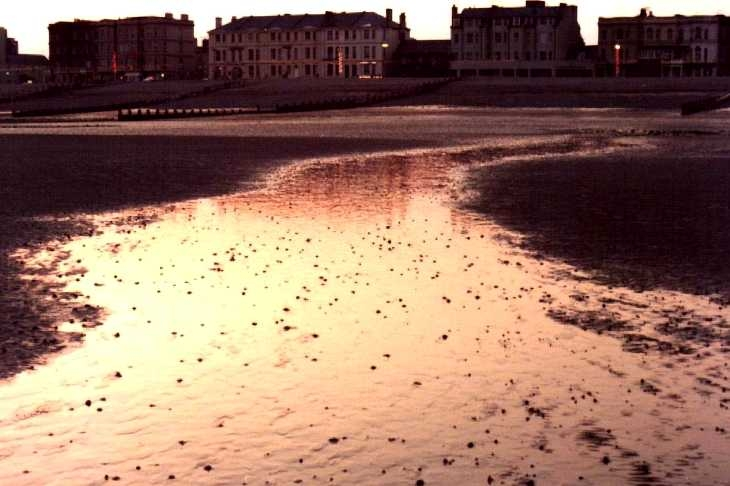 Beach at sunset, Worthing, Sussex