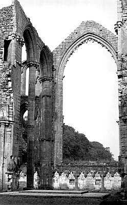 Fountains Abbey, Yorkshire, photographs in black and white