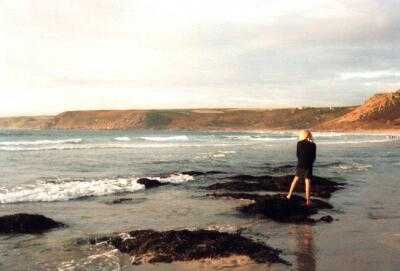 Sennen Cove, Cornwall, girl at sunset