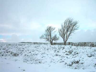Sir William Hill, near Grindleford, Derbyshire, Peak District in snow