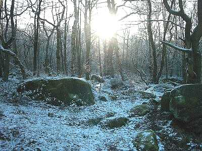 The Haywood, near Froggatt, Derbyshire, Peak District in snow
