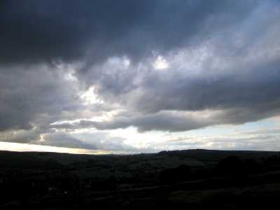 Stormy sky over Baslow Edge