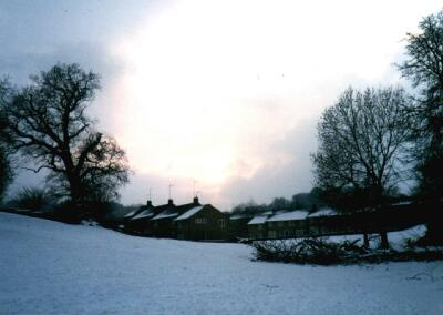 'The Dip' in snow, Welwyn Garden City, Hertfordshire