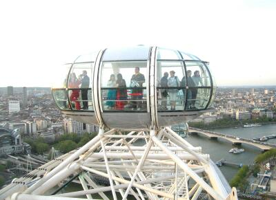 The London Eye, at the top