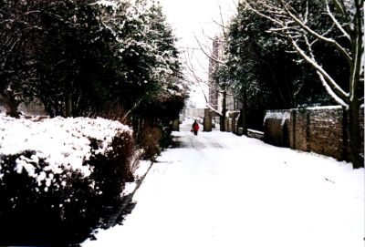 Rosemary Gardens, London, Islington in snow