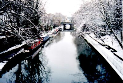 The canal near Angel, Islington, London in snow